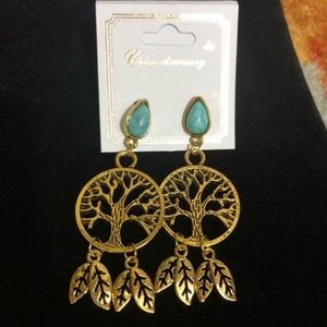 Gold & Turquoise Tree Earrings